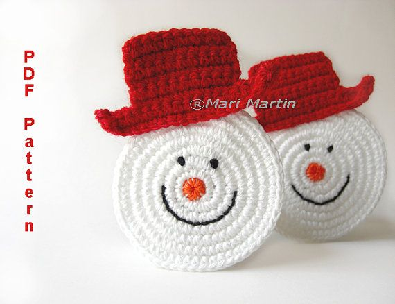 Christmas Coasters Snowman Ornament Pattern Home Decoration Decor Nursery Decoration MariMartin Download Immediately by MariMartin on Etsy