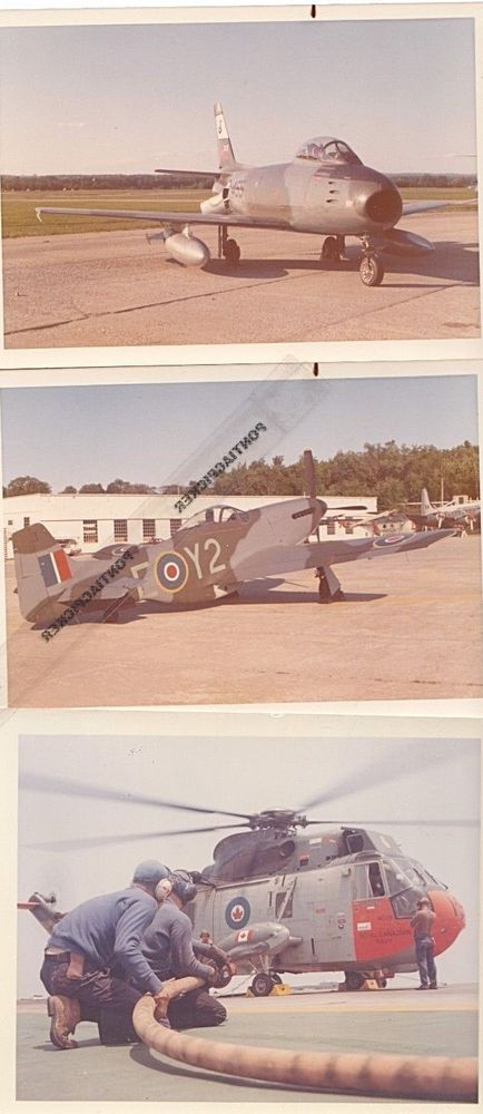 RCAF Lot of 3 Canadian Military Jet Plane Sea King helicopter Vtg 3x5 Photos