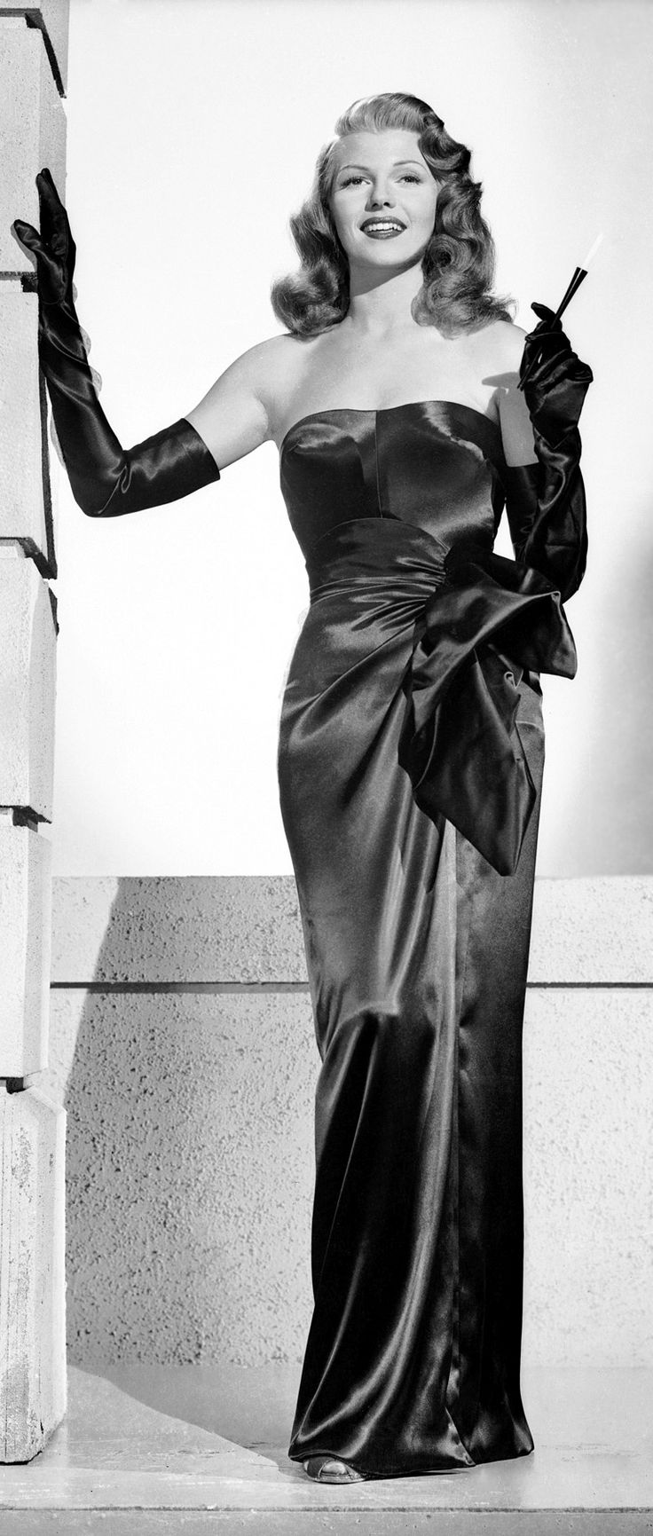 Rita Hayworth | 1940s Glamour Queen of the Silver Screen | 1950s Classic Hollywood Icon | Diva | Dame | Vintage Evening Gown | Gloves and Cigarette | Pinup | Kitten | Vixen | Cheesecake