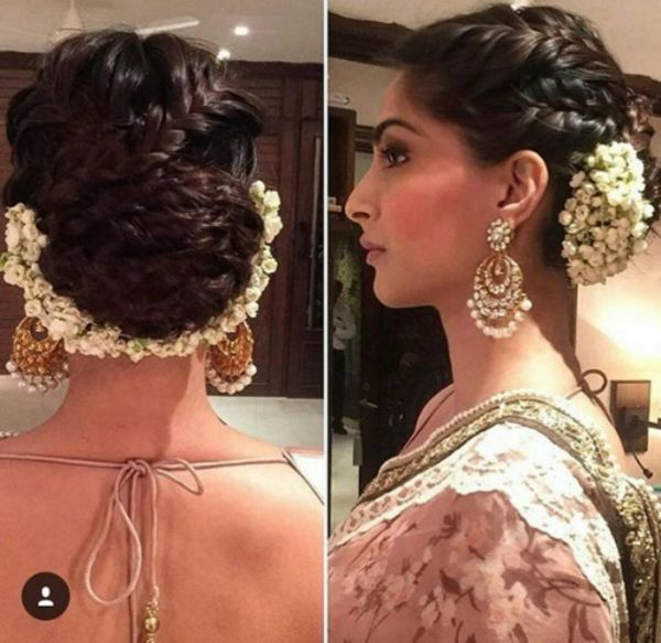 Image Result For Braids With Jasmine Flower Hair Styles Bridal Hair Buns Saree Hairstyles