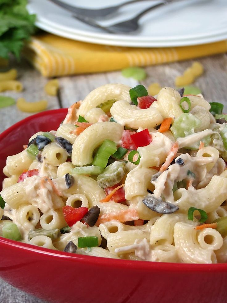 Macaroni Salad with Chicken | YummyAddiction.com
