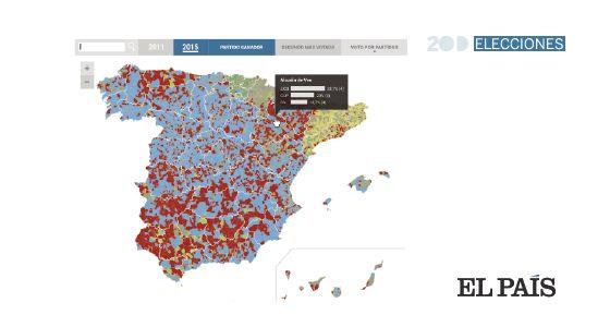 Consulte el resultado electoral municipio a municipio, la candidatura ganadora, la distribución e intensidad del voto a los principales partidos y compare todo ello con los resultados de las anteriores elecciones.