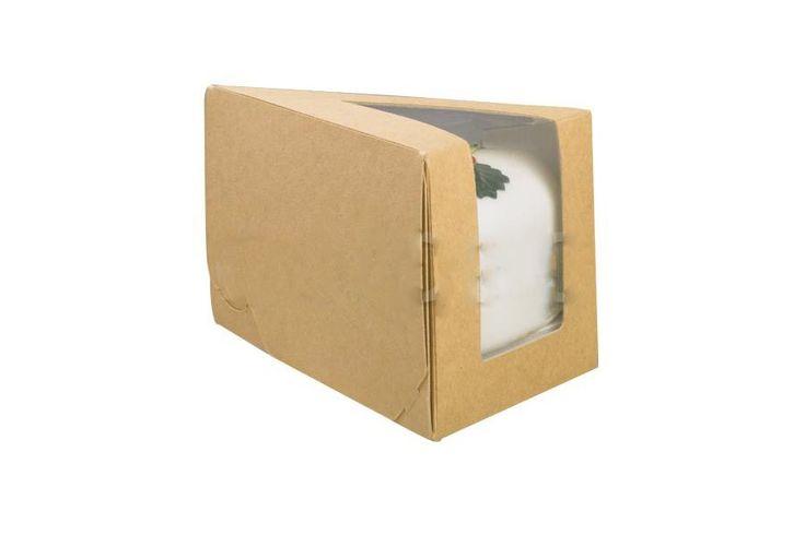 Envase de cartón kraft perfecto para porciones de tarta o quiché grandes, tiene una ventana para ver el producto.
