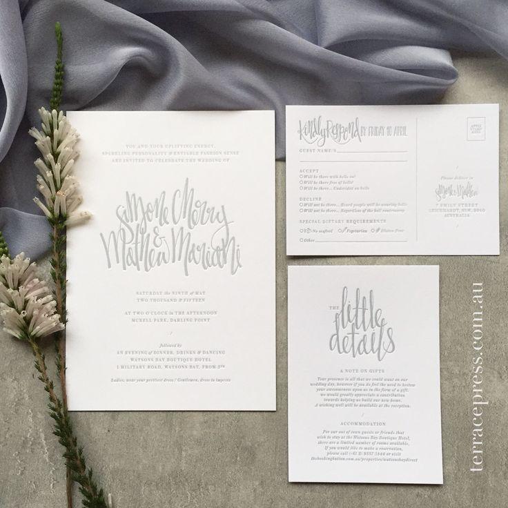 Lovely Grey Letterpress Wedding Suite. #letterpress #wedding #invitations #stationery #design #terracepress