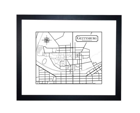 Gettysburg College Campus Map - Instant Download - Black and white map