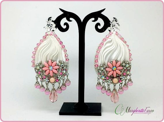 Handmade earrings with shibori silk swarovski and by 75marghe75