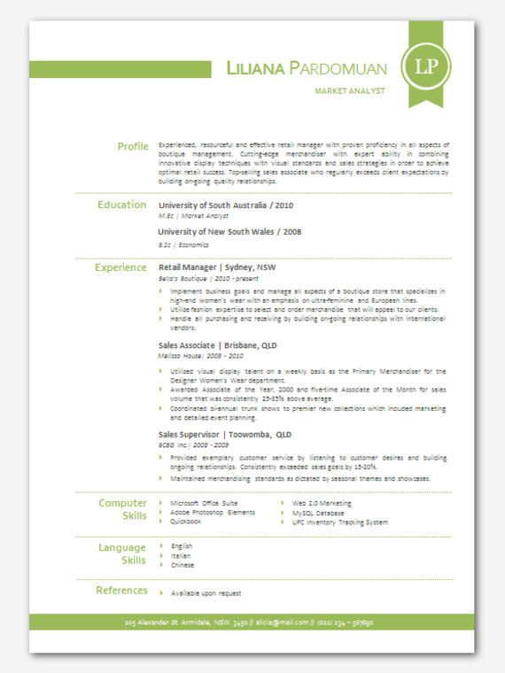 Modern Microsoft Word Resume Template Liliana by Inkpower, $12.00 ...