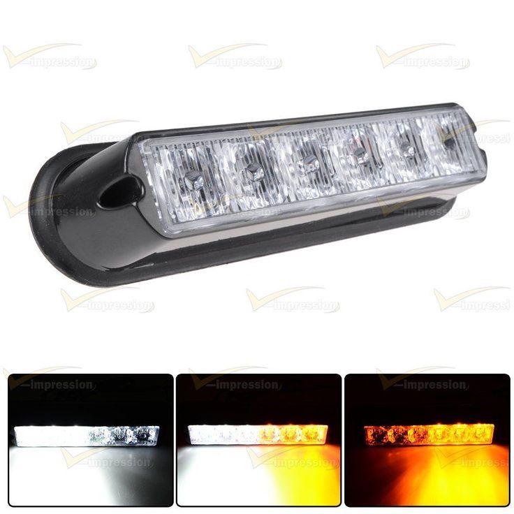 White & Amber 6 LED Warning Beacon Emergency Car Truck Strobe Flash Light Bar #Vimpression