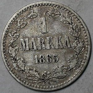 1 Markka (1865) www.checksamerica.com
