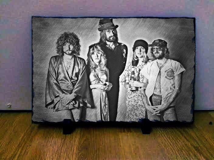 "Fleetwood Mac Sketch Art Portrait on Slate 12x8"" Rare Collectables memorabilia"