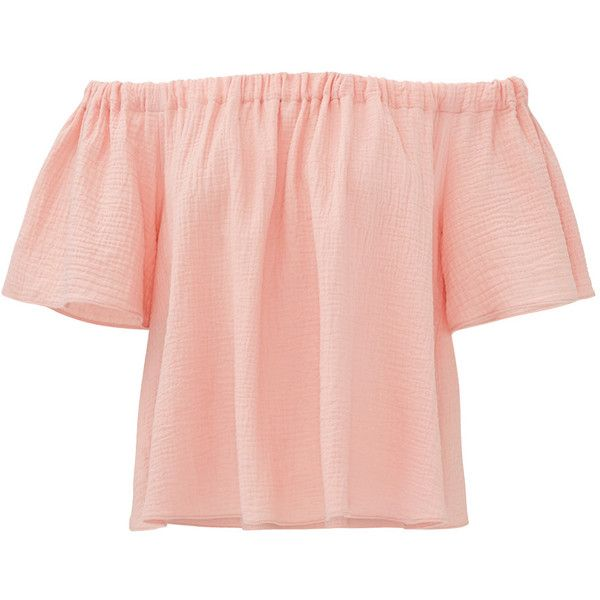 Rental Rebecca Taylor Peach Off Shoulder Gauze Top (665 MXN) ❤ liked on Polyvore featuring tops, shirts, dresses, pink, red shirt, pink off shoulder top, off shoulder shirt, red top and off shoulder tops