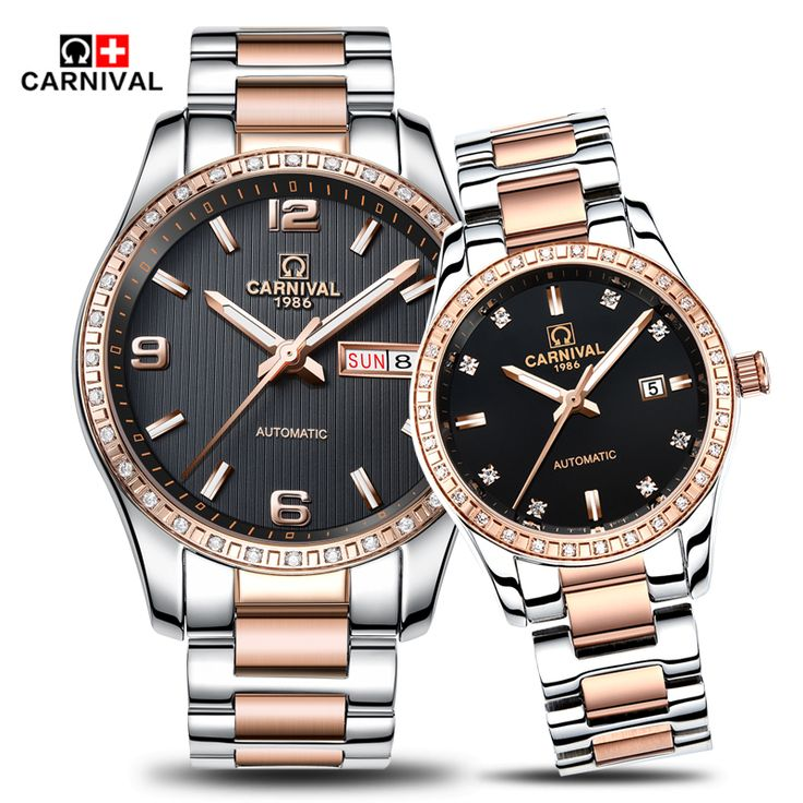 US $163.09 - 2016 Carnival Luxury Lovers Couple Watches Men Date Day Waterproof Women Gold Stainless Steel Mechanical Wristwatch Montre Homme