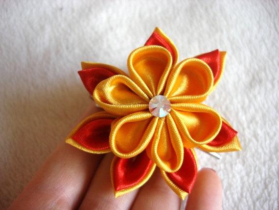 Kanzashi Flower Tsumami Kanzashi Ribbon Flower by NStellaDesign, $9.00