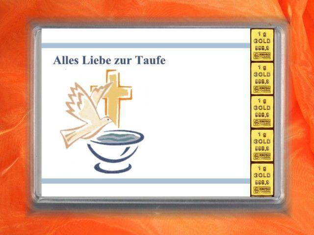 5 x 1g Goldbarren zur Taufe mit Taube und Taufebcken