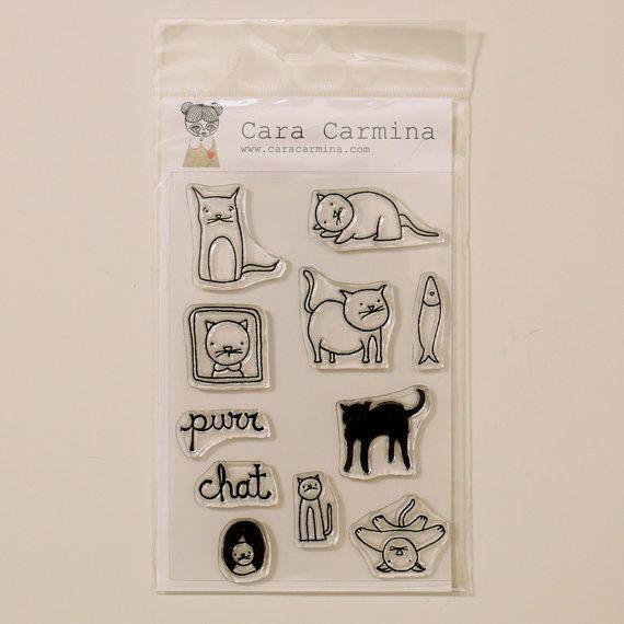 Cats  clear stamps  Cara Carmina by Caracarmina on Etsy, $18.50