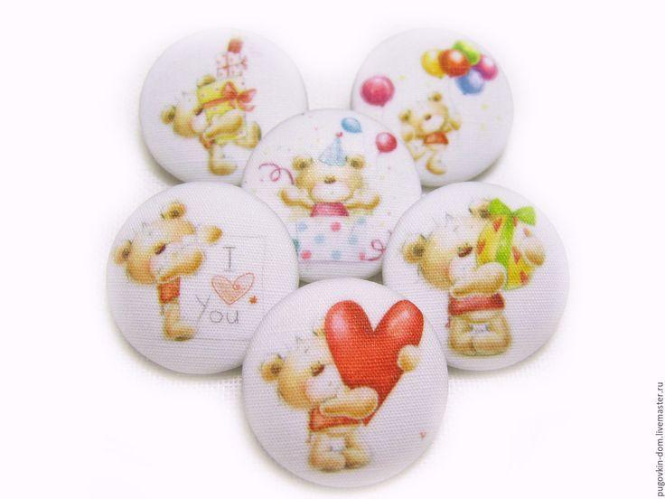 Купить Пуговицы ручной работы Мишки Тедди романтичные декор детской одежды