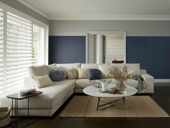 I like this blue with oak once again and we have picture rails27 best Picture Rails to paint above or not to paint above  . Living Room Grey Blue Walls. Home Design Ideas