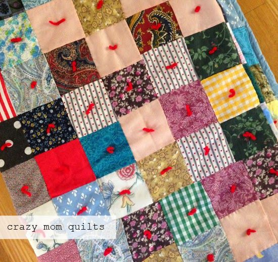 crazy mom quilts, yarn tied patchwork quilt.
