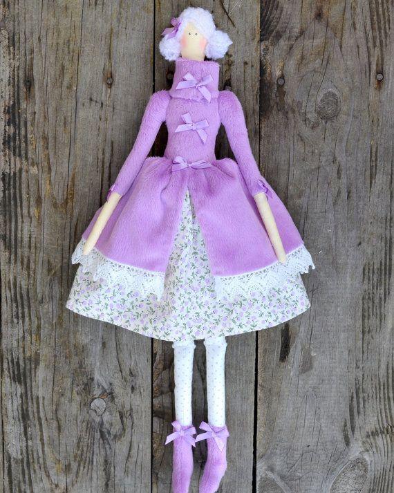 Tilda doll in lilac. Textile interior handmade by OksanaGryts