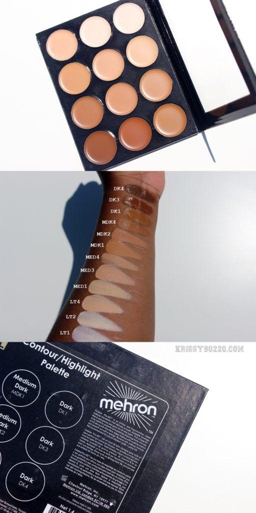 Mehron Celebré Pro-HD Cream Foundation 12 Color Contour/Highlight Palette Swatches and Review
