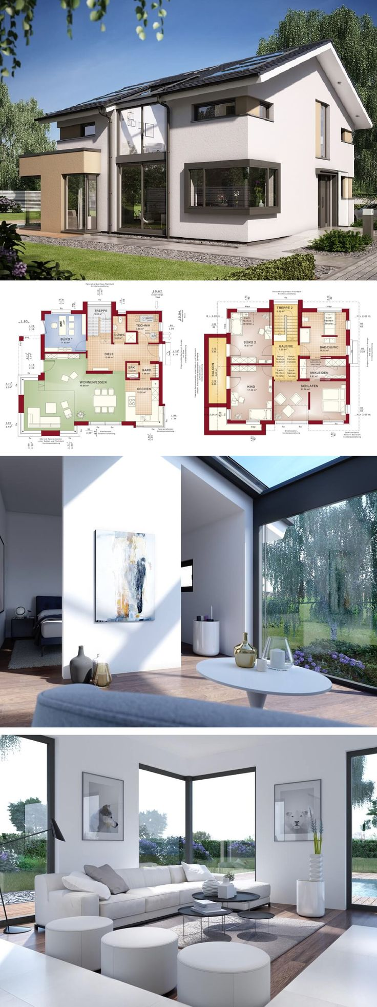 Wundervoll Einfamilienhaus Neubau Modern Mit Galerie U0026 Satteldach Architektur   Haus  Bauen Grundriss Fertighaus Design Concept