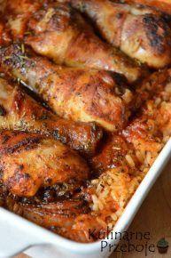 Kurczak pieczony na ryżu, Kurczak pieczony na ryżu w zalewie, szybki obiad, pyszny obiad, ekspresowy obiad z kurczakiem i ryżem. Kurczak zapiekany z ryżem.
