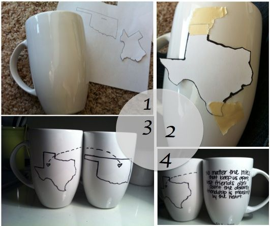 best friend mugs...under Dec2012 if you have to look it up. sharpie not necessarily permanent, but there are porcelain paints that you also bake on that might be.