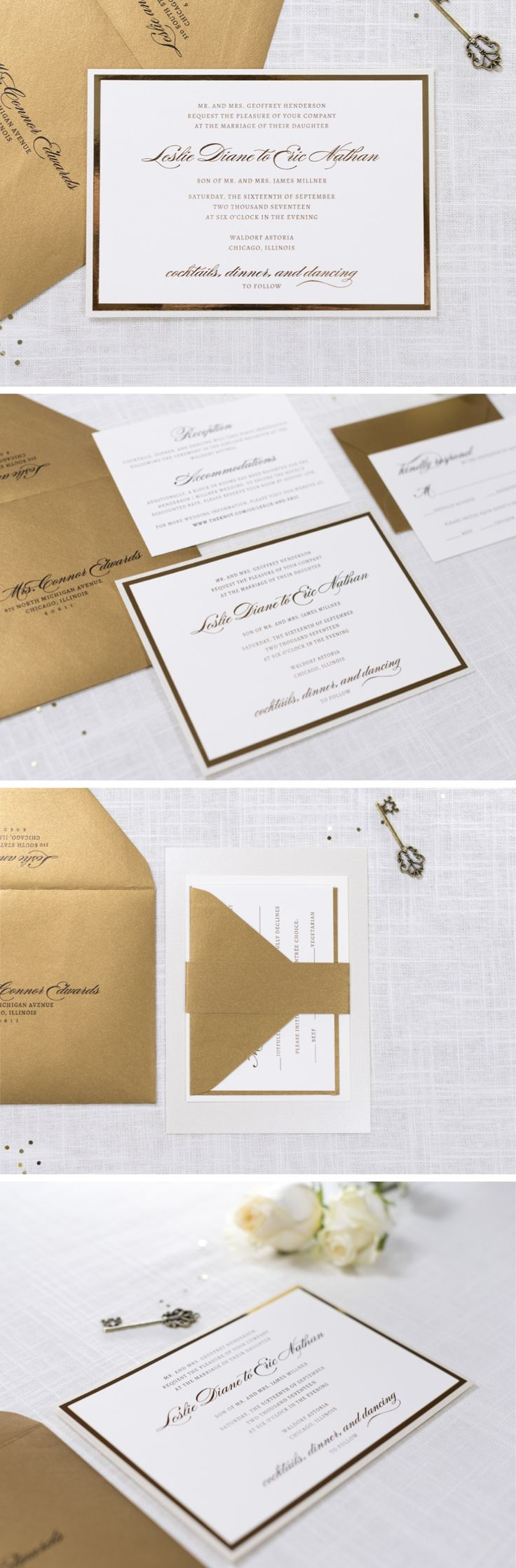 diy wedding invitations for second marriage%0A elegant and luxe champagne shimmer  gold foil  and ivory wedding invitation    by Second