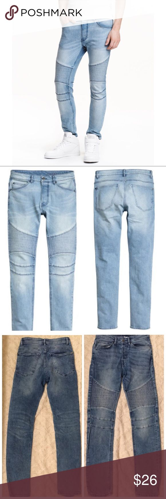 Mens Slim Fit Joggers Divided by H&M skinny jogger jeans. Light wash denim with button closure. Skinny leg. Like new condition. Pair with some  vans or jordans. Ribbed biker style.  Similar to Levi's, American Apparel, true religion, vans, skater, abercrombie, hollister, express etc H&M Jeans
