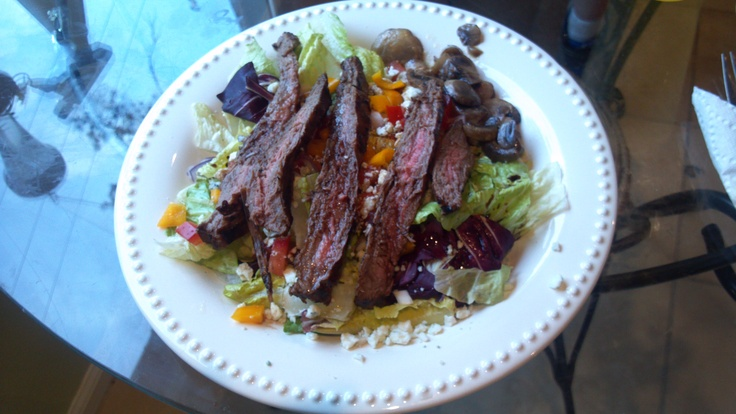 Grilled Flank Steak Salad with Bleu Cheese & Balsamic. Marinade: 1/4 ...