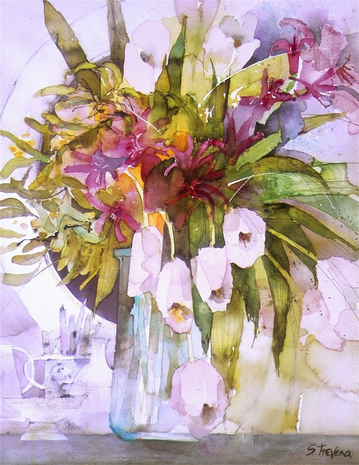Mimosa & Pale Pink Tulips - Watercolour by Shirley Trevena