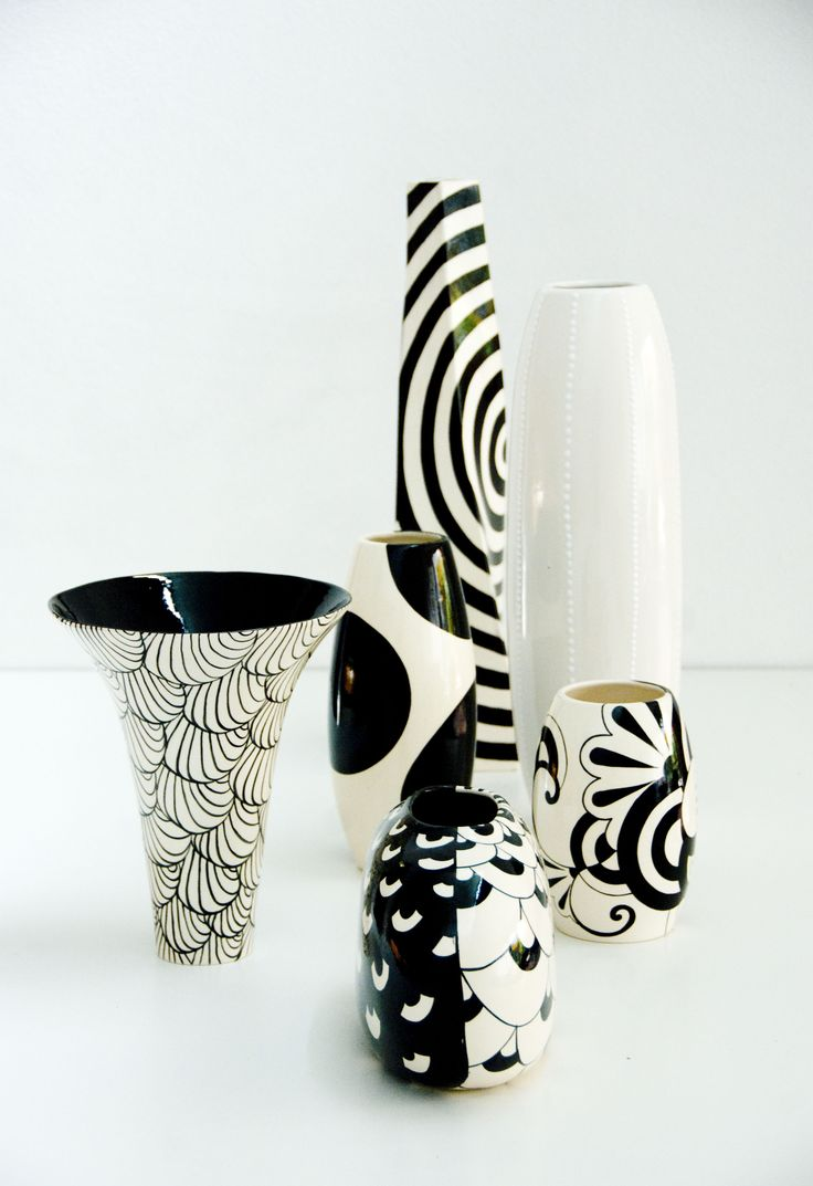 Black and white. Almost zentangle designs. Nice, simple forms.