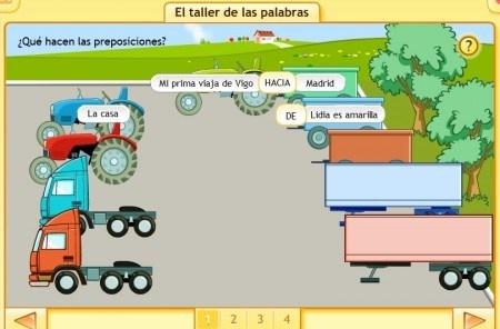 Preposiciones. Ejercicios interactivos Santillana.