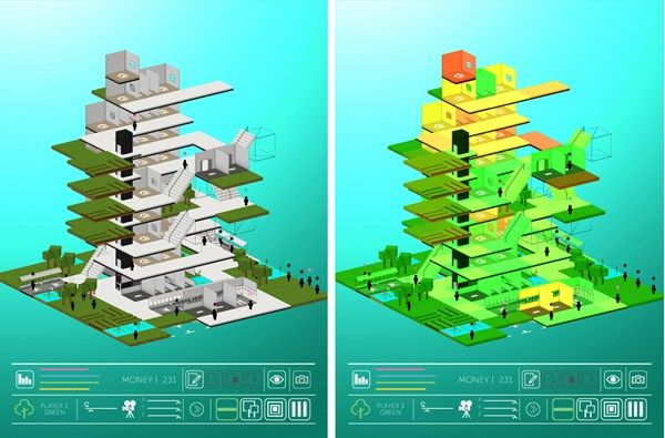 Left: A tower collaboratively built during a game of Block. Right: Analysis of the tower, rooms are colored from green to yellow to red to d...
