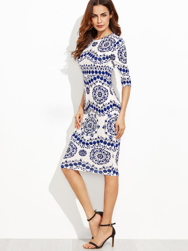 Porcelain Print Pencil DressFor Women-romwe