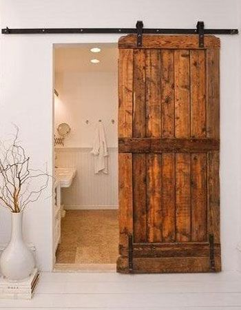 "Sliding Rustic Interior Door Ideas Image 447 oh to have unlimited funds....door between master bedroom and bath...ideas for ""someday"""