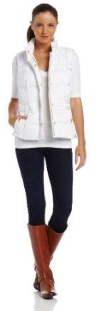 Outfit Posts: outfit post: white puffer vest, white long sleeved shirt, black skinny jeans, brown riding boots