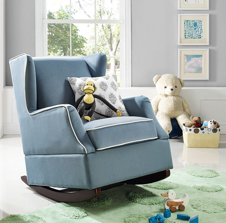 The classic design of the wingback chair is the inspiration for the beautiful Baby Relax Hudson Wingback Rocker in blue. With modern touches such as the contrasting white welt details on the sides and seat cushion, padded wings, and shaped arms, this rocker will be your new favorite place to spend time with your little one.