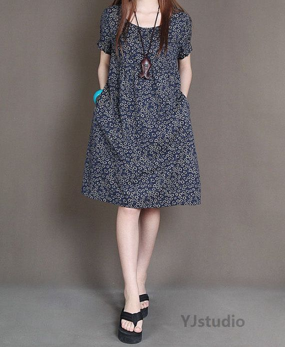 Cotton dress, Dark red Dress, Navy Blue Dress, Dark Green Dress, short sleeve, summer dress, round neck, loose fitting dress