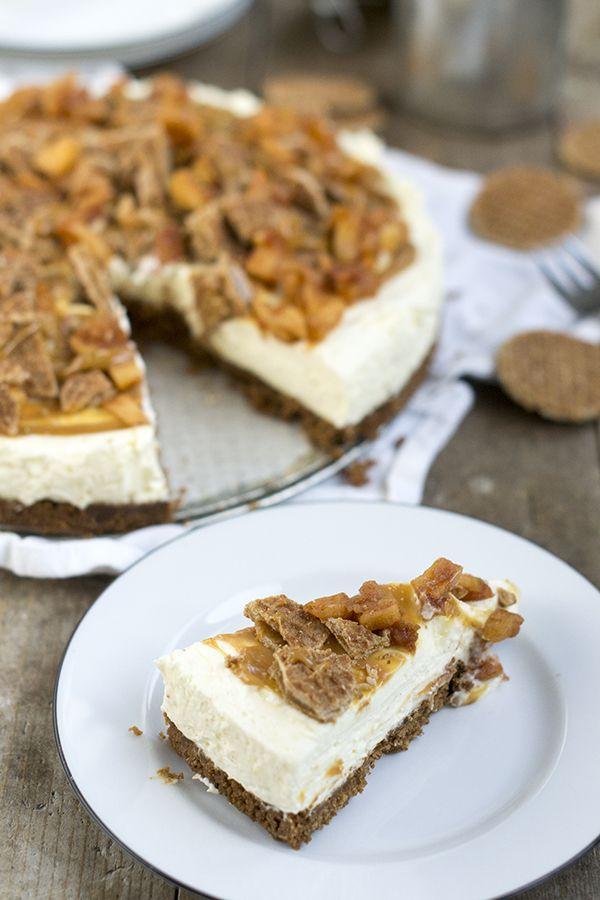 MonChoutaart met stroopwafels en karamel en kaneelappeltjes. Een taart die makkelijk is om te maken, en onweerstaanbaar lekker.