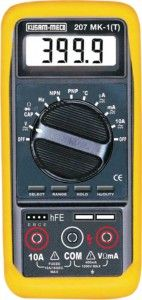 KM 207MK-1-T-AUTORANGING DIGITAL MULTIMETER-KUSAM MECO • Low power consumption CMOS double integration. A/D transform integrated circuit • High Accuracy Digital readings • Auto Zero Calibration • Instant continuity buzzer • Average Sensing • Data Hold switch freezes reading • Alarm Buzzer sounds when the lead is connected to the wrong input terminals. • Overload protection in all ranges • Recessed safety designed Input jacks • Over range indication