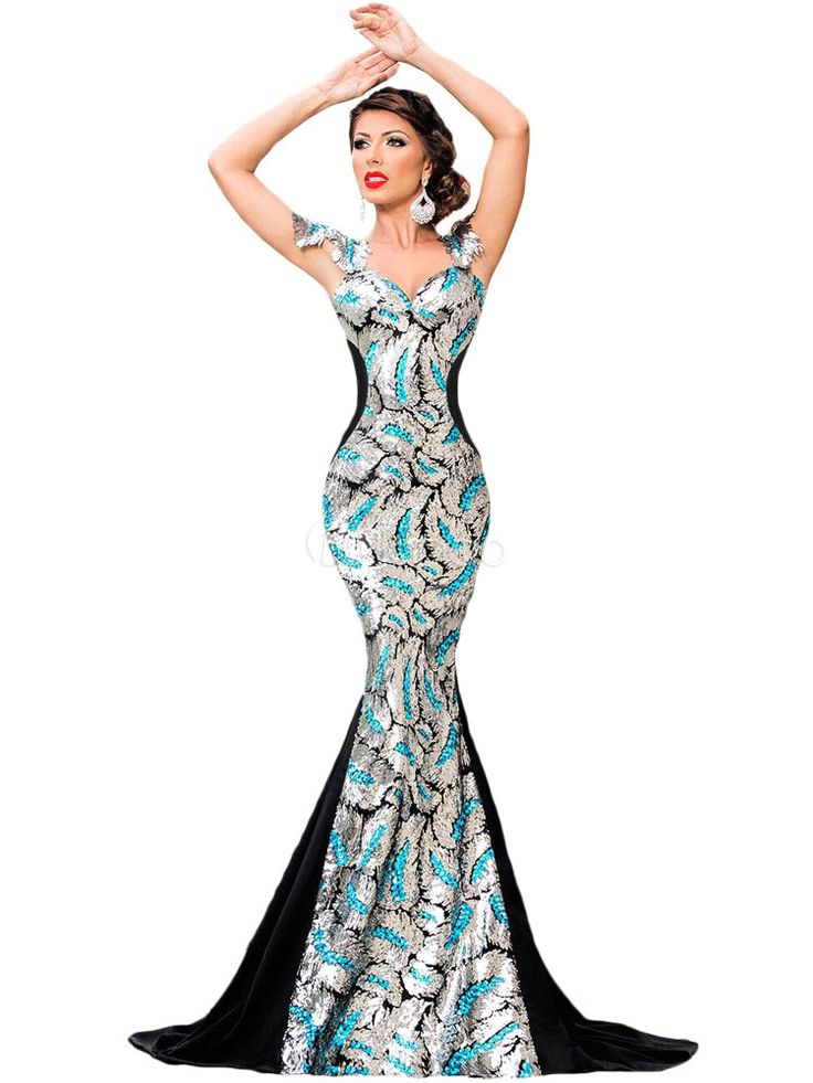 Cauda de sereia multicolor na moda vestido Maxi para as mulheres - Milanoo.com