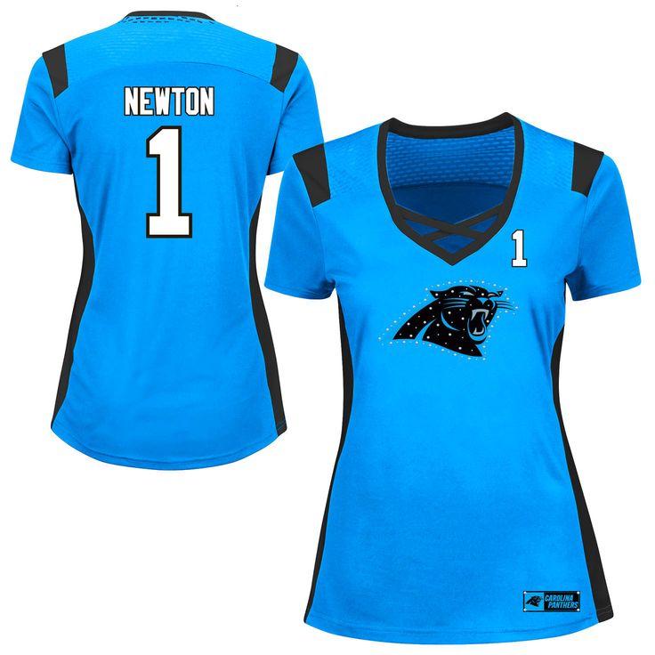Cam Newton Carolina Panthers Majestic Women's Draft Him Name & Number Fashion T-Shirt - Light Blue - $51.99