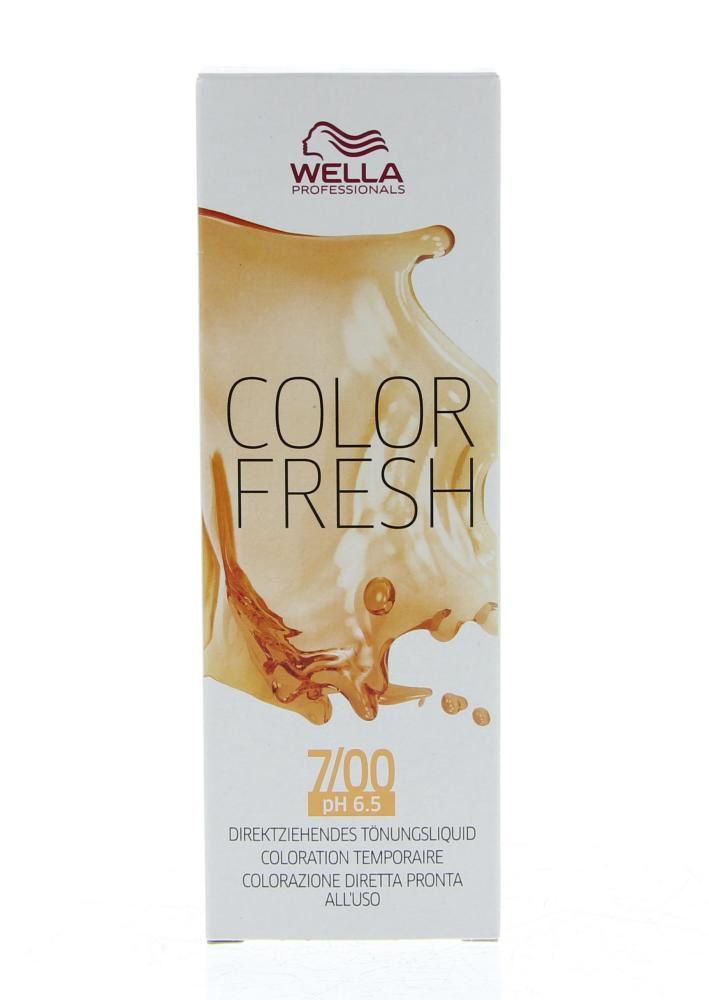 Wella Professionals Color Fresh Semi-Permanente Toning Haarkleuring 7.0 Intense Natuurlijk Blond 75ml  Wella Professionals Color Fresh Semi-Permanente Toning. Deze semi-Permanente Toning is ideaal voor het opfrissen van de haarkleur tussen twee kleurbehandelingen in voor kleurcorrectie en om kennis te maken met een kleurbehandeling. De kleur blijft tot wel 10 wasbeurten mooi. De behandeling is niet schadelijk voor het haar door de zachte pH waarde en is ammonia vrij. Daarnaast hydrateert en…
