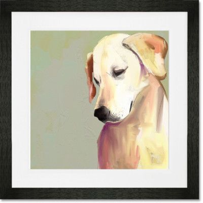 GreenBox Art 'Best Friend - Yellow Lab' by Cathy Walters Framed Painting Print Frame Color: