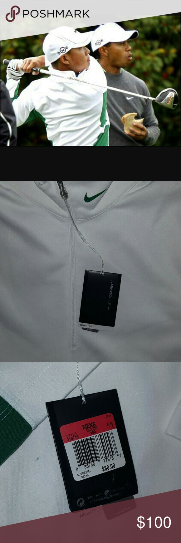 Nike GOLF Pull Over NWT GREEN WHITE Anthony Kim Brand new with tags. Mens Large style 319716 Hard to Find and sold out quickly. Style that  Anthony Kim wore at Masters Practice. Nike Fitdry Stretch. Hot Style. I ship daily(#A1) Nike Shirts