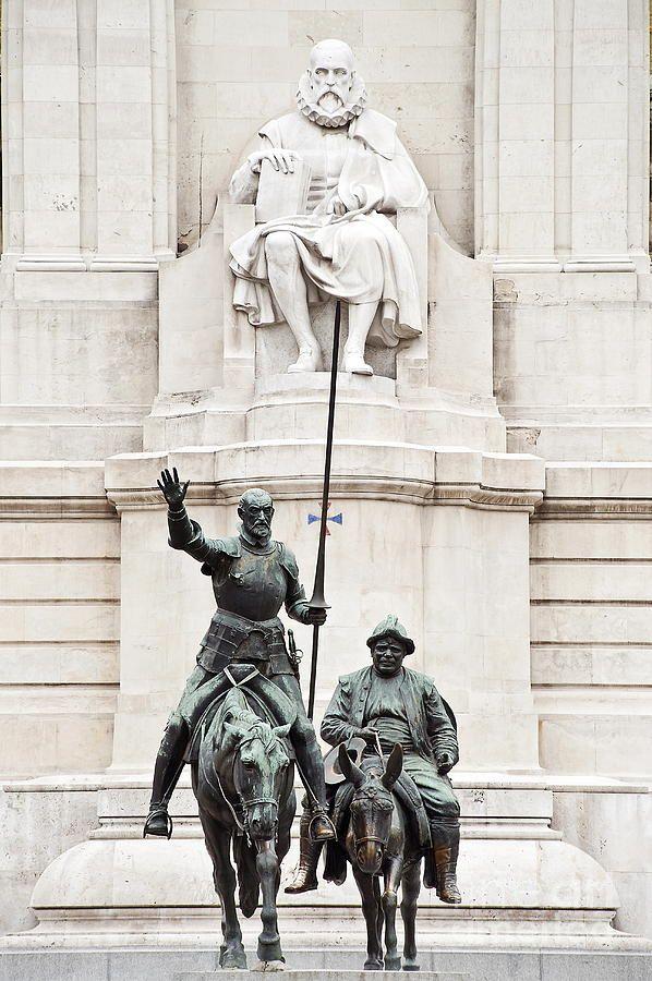 MONUMENT TO MIGUEL CERVANTES (author of Don Quixote) at the Plaza de España in Madrid, Spain