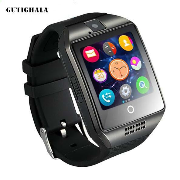c59c9934d81 Gutighala Q18 Relógio Inteligente Câmera TF Cartão SIM Telefone Relógio  Sincronização SMS Facebook Twitter Bluetooth Smartwatch para Samsung Android