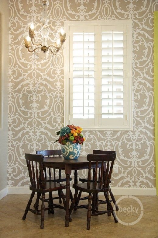 278 best wallpaper images on pinterest wallpaper wall - Dining room wallpaper accent wall ...
