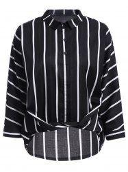 Kadınlar için moda Düz Yaka Uzun Kollu Çizgili Wrap Gömlek